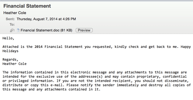 Figure 1 -- Phishing Email