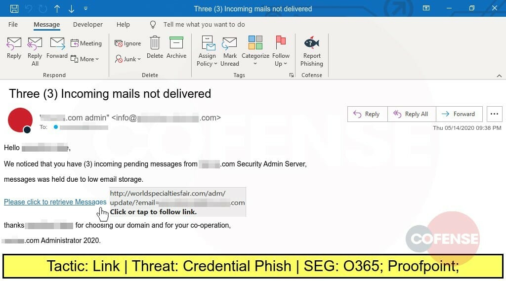 Real Phishing Example: Phishing attacked designed to steal credentials.