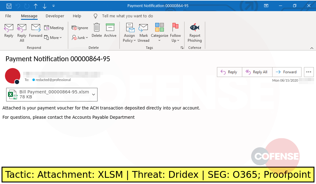Real Phishing Example: A finance-themed phish uses a macro-enabled Microsoft Excel attachment to deliver the Dridex malware.