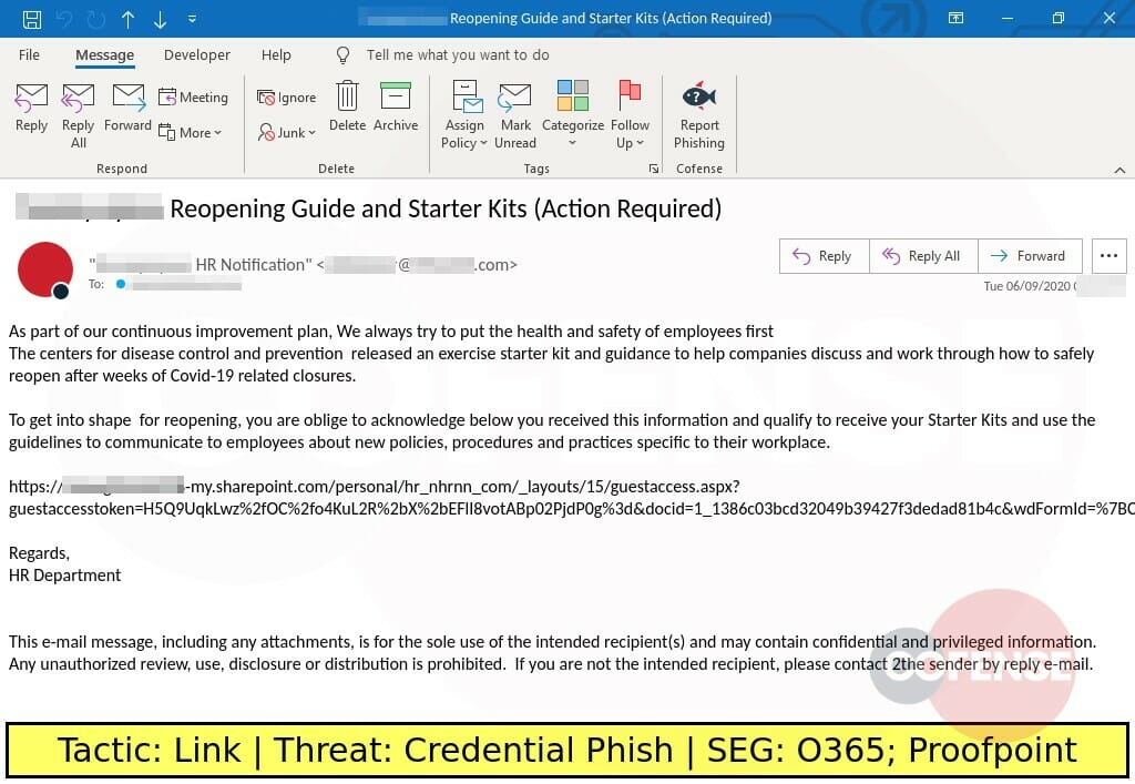 Real Phishing Example: Coronavirus-themed phish designed to steal credentials.
