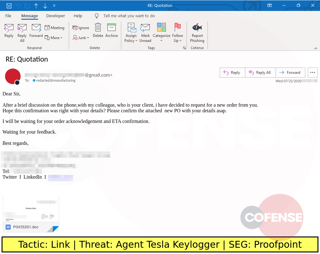 Real Phishing Example: This phishing attack uses a quotation theme to lure the recipient into clicking the image link to download the Agent Tesla keylogger