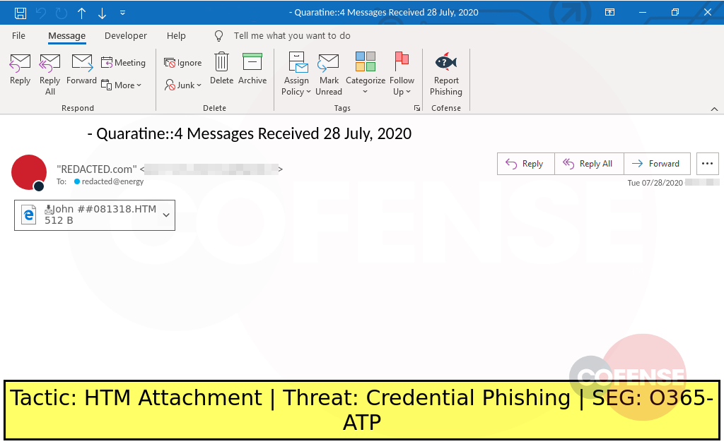 Real Phishing Example: Posing as an email quarantine message, this attack delivers an embedded link to a credential phishing site.