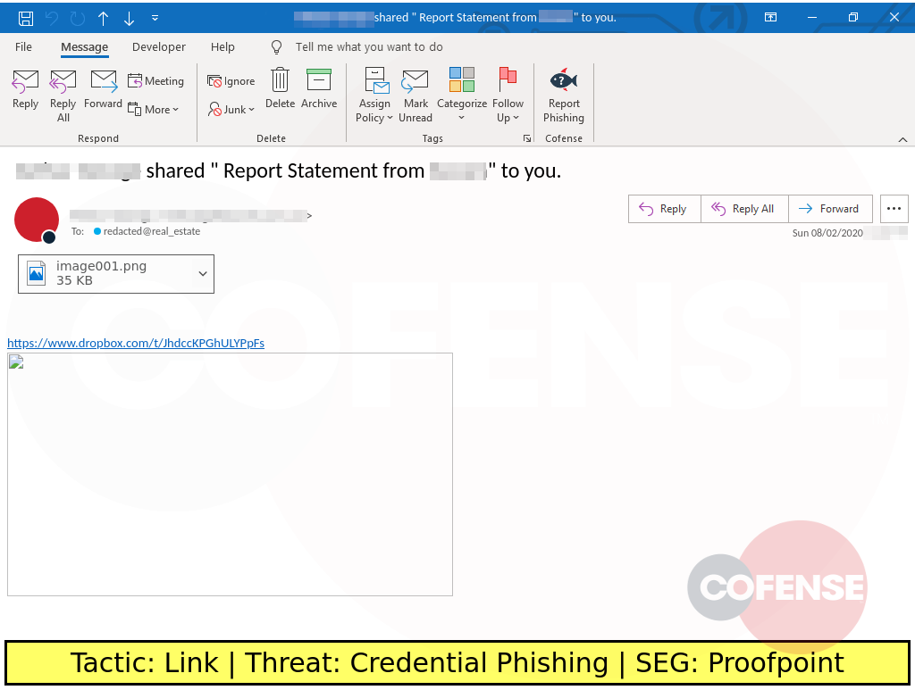 phishing example of credential theft using dropbox link