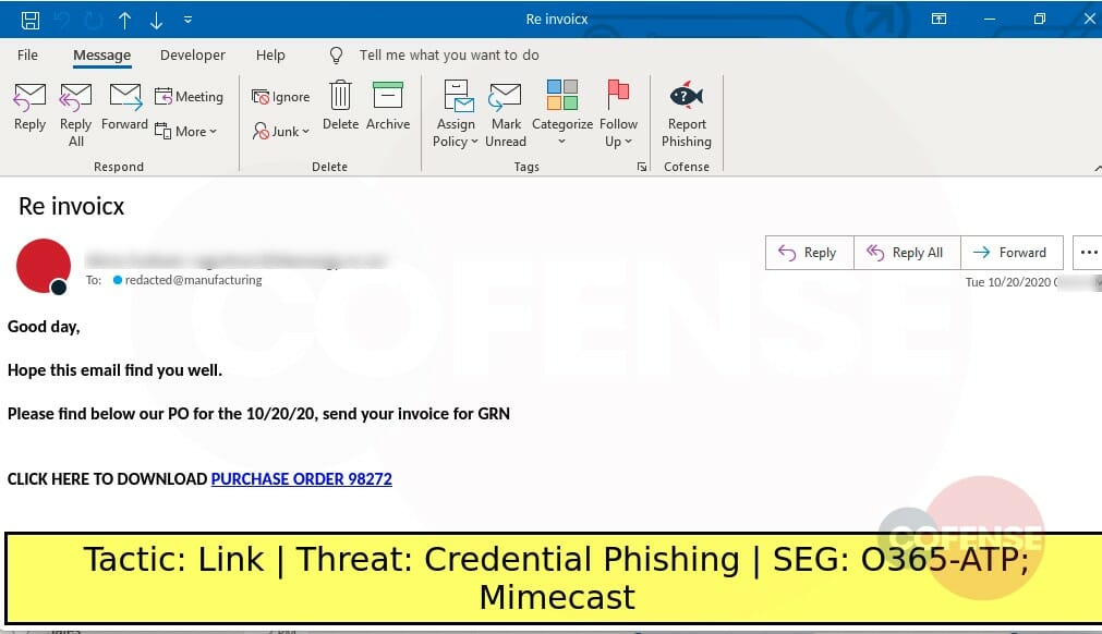 Real Phishing Example: Invoice-themed emails found in environments protected by Mimecast deliver Credential Phishing via embedded links. The embedded links download a ZIP archive that contains another ZIP archive with an HTML file inside. The HTML file harvests email login credentials.