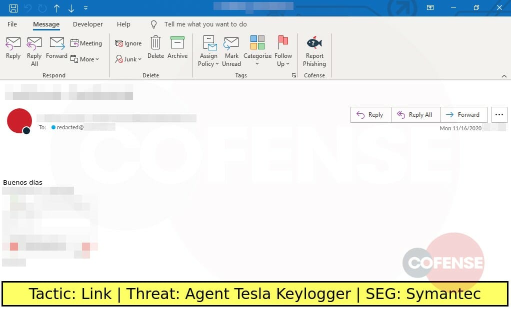Real Phishing Example: File Transfer-themed emails found in an environment protected by Symantec deliver Agent Tesla Keylogger. An embedded Mediafire link downloads a TGZ archive that contains an Agent Tesla executable.