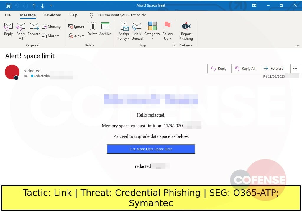 Real Phishing Example: Microsoft-spoofing emails found in environments protected by Symantec and O365-ATP deliver credential phishing via embedded URLs.