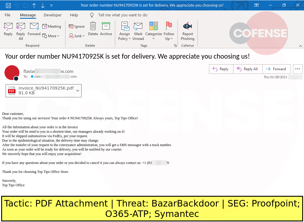 Real Phishing Example: Invoice-themed emails found in environments protected by Proofpoint, Microsoft ATP, and Symantec deliver BazarBackdoor via PDF attachments. The attached PDF redirects to a site that collects invoice order numbers, once the order number is entered it redirects to a payload URL that downloads an OfficeMacro. The OfficeMacro downloads and runs BazarBackdoor.